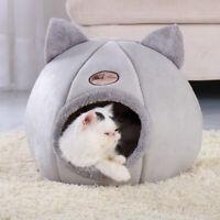 Lit pour chien chat Maison Peluche Couchage douillet niche Chaud Nid Panier Gris