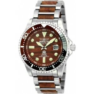 Invicta 22326 Grand Diver Woodie Automatic Date Wood Dial Bracelet Mens Watch