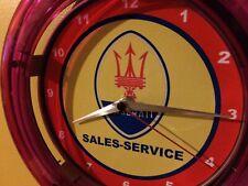Maserati Motors Auto Garage Advertising Man Cave Neon Wall Clock Sign