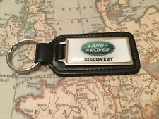 LAND ROVER Quality Black Real Leather Keyring Oblong DISCOVERY