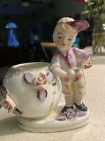 Boy Baseball Player Figurine Ceramic-Porcelain 3-D Flower Planter Vase Occ Japan