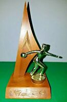 """Vintage 1960's 8"""" Tall Gold Male Bowling Trophy on Walnut Base"""