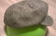 Ladies smart flat cap hat Peaky Blinders Tweed country Herringbone Grey NEW