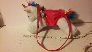 Poochie & Co White Unicorn Plush Purse Bag Girls Sequins w/Pink Collar & Strap