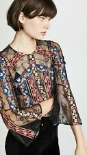 NWT 2018 Alice + Olivia Larue Embroidered Lace Sheer Top $440 Sz Small 4 6