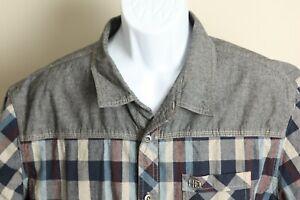 Harley Davidson Men's blue, maroon and tan plaid short sleeve shirt XL EUC