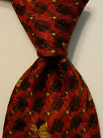 ERMENEGILDO ZEGNA Men's Silk Necktie ITALY Luxury FLORAL Red/Brown/Yellow EUC