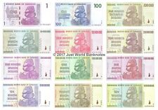 Zimbabwe 1 Dollar to 10 Trillion Dollars Set of 12 Banknotes 12 PCS UNC