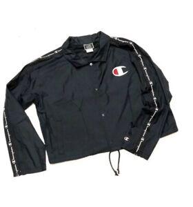 Women's Champion Coaches Jacket Windbreaker Spring Coat Size X-Large XL Black