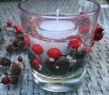 Christmas Gel Candle:Red Berries & Cones, Snow Glitter Choose Scent Gift Wrapped