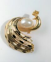 Vintage Art Deco Peacock Brooch Gold Tone Black White Enamel Feathers Faux Pearl