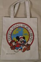 Disney's Small World Library Tote Bag Mickey Mouse Travel Suitcase White Red