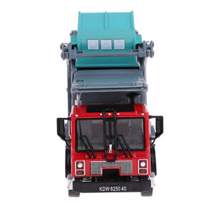 1:24 Alloy Pull Back Rubbish Truck Garbage Waste Trash Truck Model Kid Toy