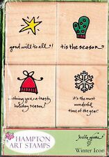 WINTER ICONS - Hampton Art Boxed Set Christmas Wood Mounted Rubber Stamps