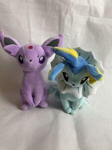 """Takara Tomy """"Pokemon"""" Official Espeon Vaporeon Eeveelution Soft Plush Toy."""