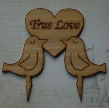 Wedding Cake Topper,Two Dove & Heart, Customised your choice of wording, Rustic