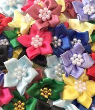 Qualité Satin Ruban Poinsettias Fleurs 4 cm Couleurs Mélangées à coudre Artisanat Cartes