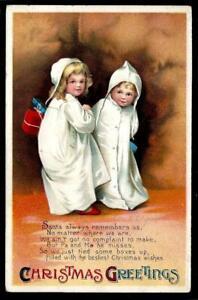 T1¢ WONDER'S ~ ELLEN CLAPSADDLE SIGNED CHRISTMAS PC W/ SMILING CHILDREN ~ P162
