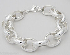 "26.5g Solid Sterling Silver Big Classic Chunky Link 9"" Bracelet 15mm Wide"
