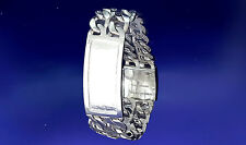 Heavy Solid Sterling Silver 2 Row Curb Link ID Bracelet Handmade in USA 40 Grams