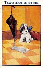 POSTCARD  COMIC   HUMORESQUE   Dog  Puddle....