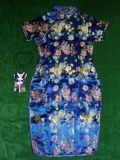NUEVO niña azul CHINOS/Oriental Vestido 3-4 AÑOS + Bolso