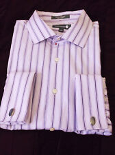 Nordstrom light Purple Striped 100% Cotton size 17 sleeve 32/33 Trim Fit