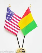 United States of America & Guinea Double Friendship Table Flags