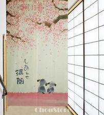 Japanese Noren Doorway Curtain Romantic Blossom Cherry Sakura and Little Dog E21