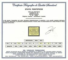 Stato Pontificio 1867 - 40 c. giallo - Sassone 19 - Certificato - Usato - ASI061
