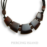 Edle Halskette Anhänger Kette Handarbeit Holz Design längenverstellbar N019