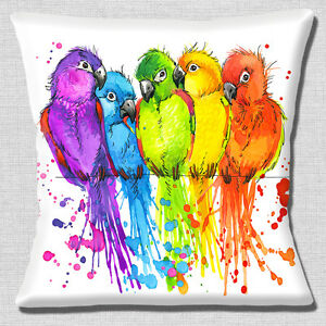 Cute Cuddling Lovebirds Cushion Cover 16x16 inch 40cm Bright Colours on White