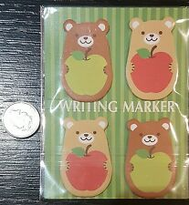 kawaii cartoon BEAR WRITING MARKER sticky notepad memo set tabs page markers