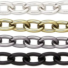 Big Anodized Cable Link Aluminum Chain with Open 11mm x 15mm Ovals By the Foot