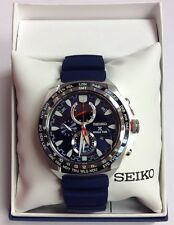 SEIKO Men's PROSPEX Blue Rubber Strap Solar World Time Chronograph WATCH SSC489