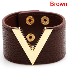 Grand bracelet en cuir marron en cuir marron