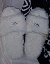 Victoria's Secret PINK Sherpa Slippers Silver Dog Logo Large 9/10