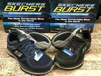 Skechers Men's Burst Athletic Shoes Air Cooled Memory Foam Black or Navy - New