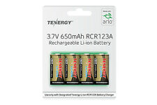 4-pk Tenergy 3.7V 650mAh RCR123A Li-ion Rechargeable Batteries for Arlo VMC303