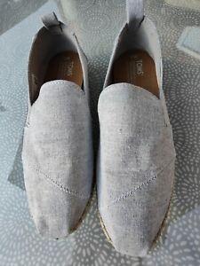 Toms Ladies Size 5 Light Grey canvas Espadrilles slip ons.
