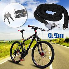 90CM Heavy Duty Motorcycle Padlock Bike Chain Wall Ground Anchor Lock Security
