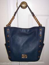 NWT Michael Kors DELANCY DELANCEY Large Shoulder Tote Bag NAVY BLUE Leather