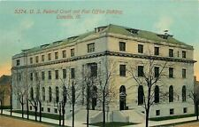 Danville Illinois~Winter Trees~U S Federal Court And Post Office~1912 Postcard