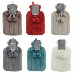 New Faux Fur Hot Water Bottle And Cover Pom Pom 2 Litre By Super Utensil