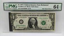 1974 $1 Federal Reserve Note Richmond PMG 64 EPQ - Ink Smear Error