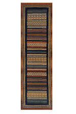 Gabbeh Tribal Rugs Multi Colour Striped Blue and Rust Runner 68x235cm 933/R