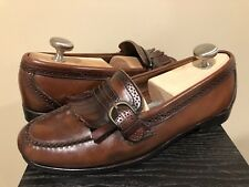 c85a10e5893 COLE HAAN Brown Leather Tassels Kiltie Slip On Dress Loafers MENS 9M Shoes  USA