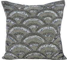 Cushion Cover Luxury Silver 22x22 inch Silk, Pattern - Silveratti