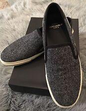 NIB YSL SAINT LAURENT PARIS Tweed Chevron Gray Black Skate Sneakers 39.5 $595