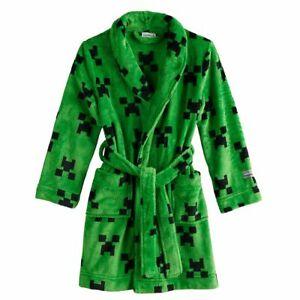 Minecraft Boy's Minky Luxe Fleece Green Creeper Bathrobe, Robe
